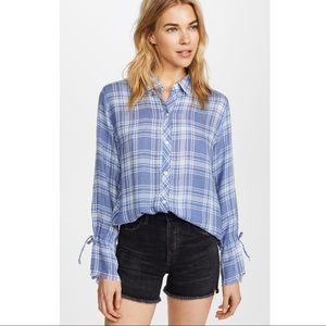 Rails Astrid Tie Sleeve Button Down Shirt Sz M